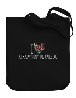 I love Australian Stumpy Tail Cattle Dog colorful hearts Canvas Tote Bag