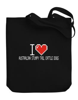 I love Australian Stumpy Tail Cattle Dogs pixelated Canvas Tote Bag