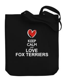Keep calm and love Fox Terriers chalk style Canvas Tote Bag