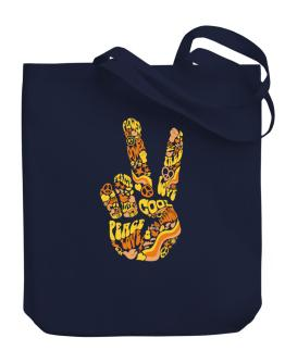 Peace Sign - Hand Collage Canvas Tote Bag