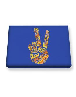 Peace Sign - Hand Collage Canvas square