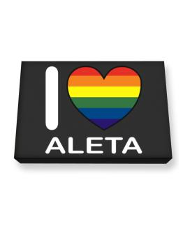 I Love Aleta - Rainbow Heart Canvas square