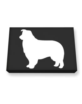 Border Collie Silhouette Embroidery Canvas square