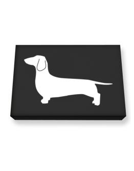 Dachshund Silhouette Embroidery Canvas square