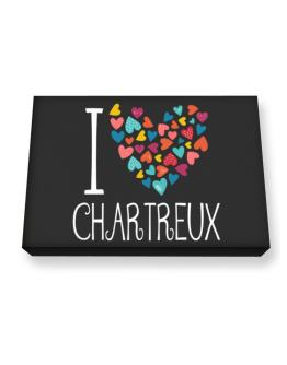 I love Chartreux colorful hearts Canvas square