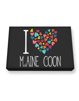 I love Maine Coon colorful hearts Canvas square