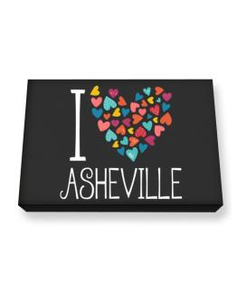 I love Asheville colorful hearts Canvas square