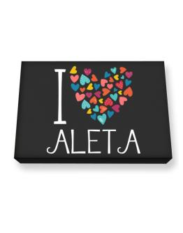 I love Aleta colorful hearts Canvas square