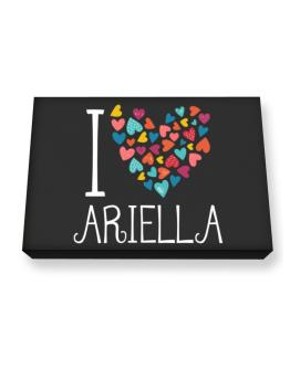 I love Ariella colorful hearts Canvas square
