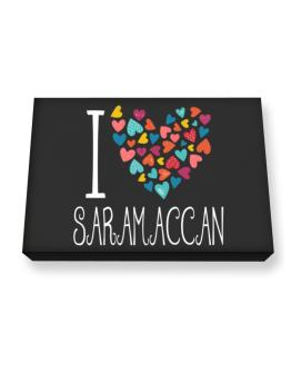 I love Saramaccan colorful hearts Canvas square