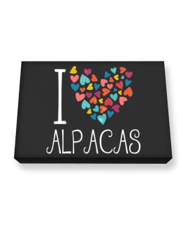 I love Alpacas colorful hearts Canvas square