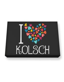 I love Kolsch colorful hearts Canvas square