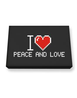 I love Peace And Love pixelated Canvas square