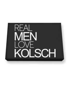 Real men love Kolsch Canvas square