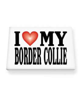 I Love Border Collie Canvas square