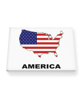 America - Country Map Color Canvas square