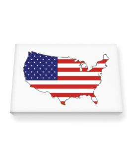 America - Country Map Color Simple Canvas square