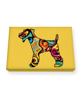 Psychedelic Fox Terrier Canvas square