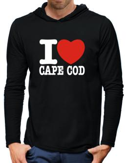 I Love Cape Cod Hooded Long Sleeve T-Shirt-Mens