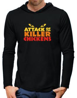 Attack Of The Killer Chickens Hooded Long Sleeve T-Shirt-Mens