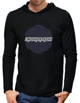 Saxophone Addict Hooded Long Sleeve T-Shirt-Mens