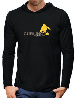 Curling - Only For The Brave Hooded Long Sleeve T-Shirt-Mens