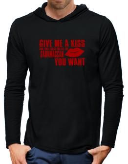 Give Me A Kiss And I Will Teach You All The Saramaccan You Want Hooded Long Sleeve T-Shirt-Mens