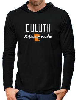 """ Duluth - State Map "" Hooded Long Sleeve T-Shirt-Mens"