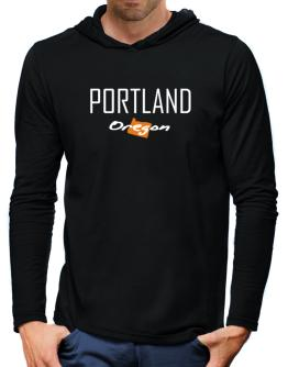 """ Portland - State Map "" Hooded Long Sleeve T-Shirt-Mens"