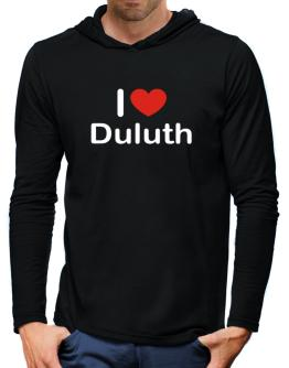 I Love Duluth Hooded Long Sleeve T-Shirt-Mens