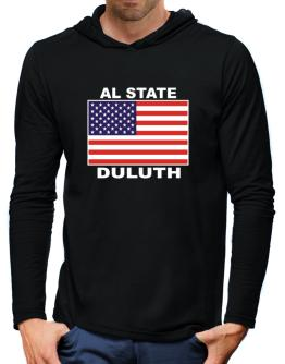 """ Duluth - US Flag "" Hooded Long Sleeve T-Shirt-Mens"