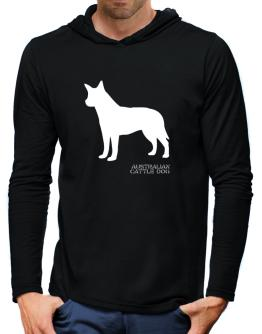 Australian Cattle Dog Stencil / Chees Hooded Long Sleeve T-Shirt-Mens
