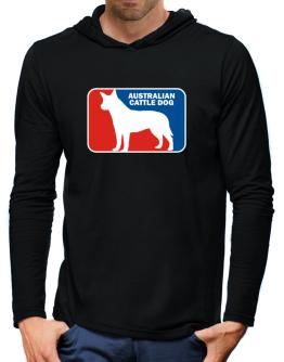 Australian Cattle Dog Sports Logo Hooded Long Sleeve T-Shirt-Mens