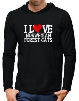 I Love Norwegian Forest Cats - Scratched Heart Hooded Long Sleeve T-Shirt-Mens