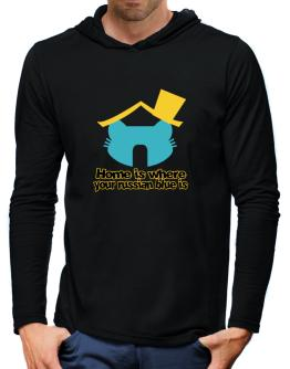 Home Is Where Russian Blue Is Hooded Long Sleeve T-Shirt-Mens