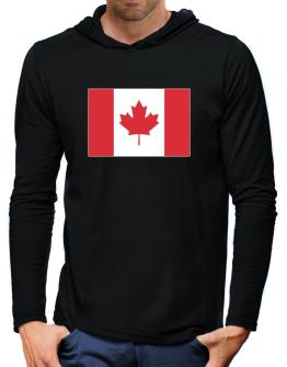 Canada Flag Hooded Long Sleeve T-Shirt-Mens