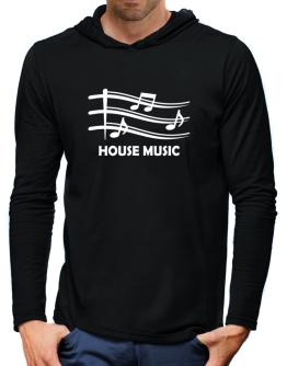 House Music - Musical Notes Hooded Long Sleeve T-Shirt-Mens