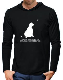 Easily Distracted By Saxophonists Hooded Long Sleeve T-Shirt-Mens