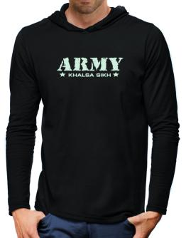 Army Khalsa Sikh Hooded Long Sleeve T-Shirt-Mens