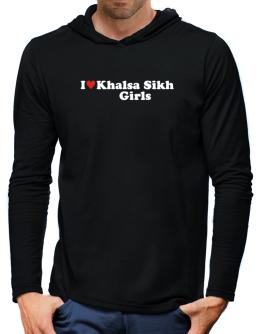 I Love Khalsa Sikh Girls Hooded Long Sleeve T-Shirt-Mens