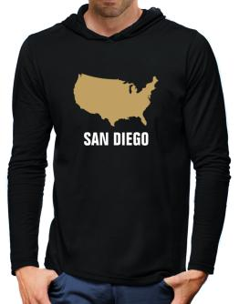 San Diego - Usa Map Hooded Long Sleeve T-Shirt-Mens