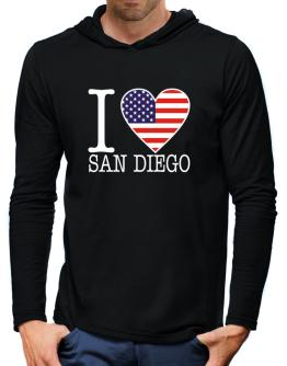 """ I love San Diego - American Flag "" Hooded Long Sleeve T-Shirt-Mens"