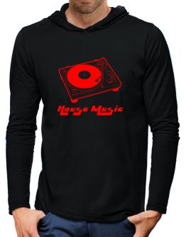Retro House Music - Music Hooded Long Sleeve T-Shirt-Mens