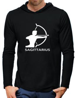 Sagittarius Astral Silhouette Hooded Long Sleeve T-Shirt-Mens