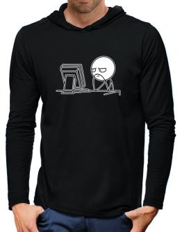 Computer guy Hooded Long Sleeve T-Shirt-Mens
