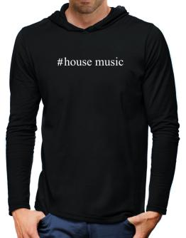 #House Music - Hashtag Hooded Long Sleeve T-Shirt-Mens