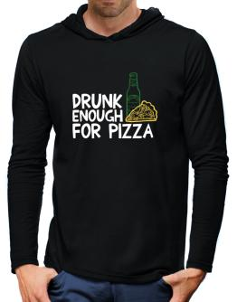 Drunk enough for pizza Hooded Long Sleeve T-Shirt-Mens