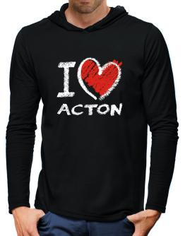 I love Acton chalk style Hooded Long Sleeve T-Shirt-Mens