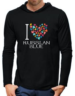 I love Russian Blue colorful hearts Hooded Long Sleeve T-Shirt-Mens