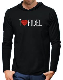 I love Fidel cool style Hooded Long Sleeve T-Shirt-Mens
